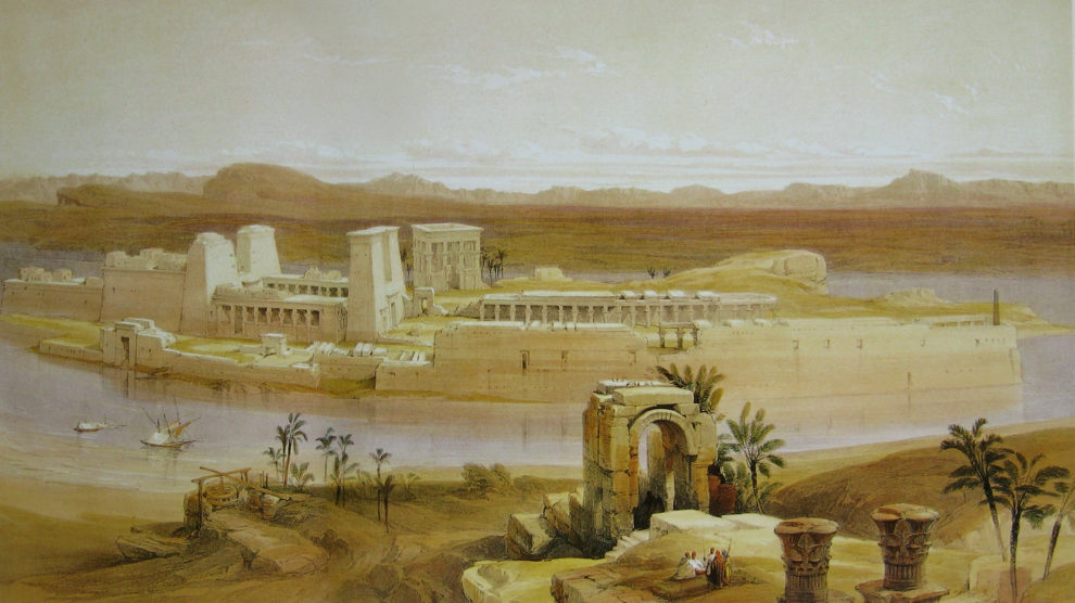 Templo de Filé, David Roberts (1838) (Wikimedia).