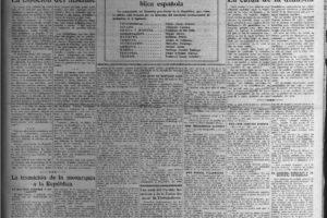 El Socialista 15 de abril de 1931 (Fundación Pablo Iglesias, Madrid).