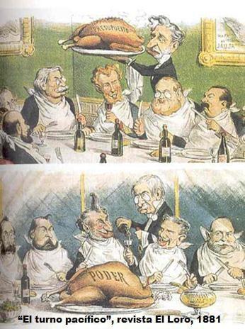 Caricatura revista El Loro 1881. Crítica al turnismo