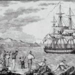 El navío María Pita, partiendo del puerto de La Coruña en 1803 para la expedición que pretendía luchar contra la viruela. Grabado de Francisco Pérez (Wikimedia).