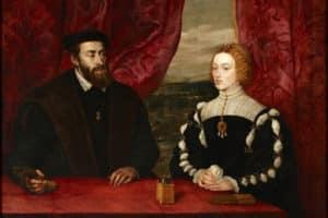 Carlos I de España y V del Sacro Imperio Romano Germánico y su esposa Isabel de Portugal, de medio cuerpo, sentados ante un paisaje (Wikimedia).