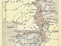 Mapa de África Central con las modificaciones territoriales de 1911. (Obsérvese los territorios obtenidos a favor de Alemania alrededor de Camerún)