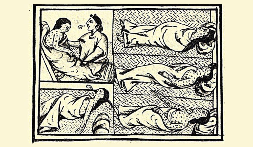 Enfermos de viruela o hueyzáhuatl durante el sitio a Tenochtital. Códice Florentino, lib. XII, f.53 v. (Biblioteca niversitaria de Oza)