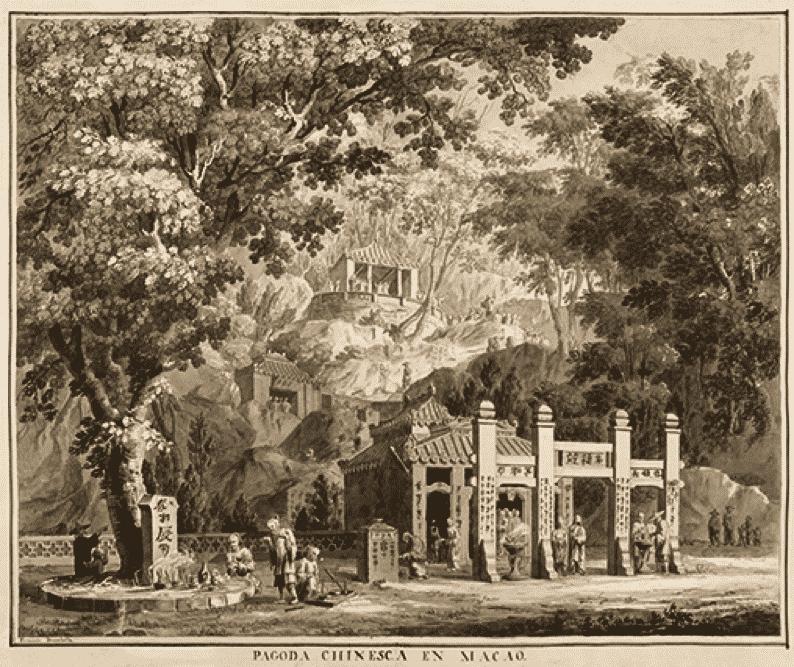 Grabado de una pagoda de estilo chino en el Macao portugués (Archivo Bogotá).